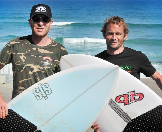 Greg Bell (left) and Malcolm Diack at St Clair beach. The two have been organising the World...