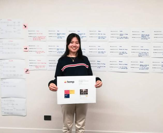 Magdeline Huang pitches her idea for a ''Temp'' where people can hire out items for money. Photo: Supplied