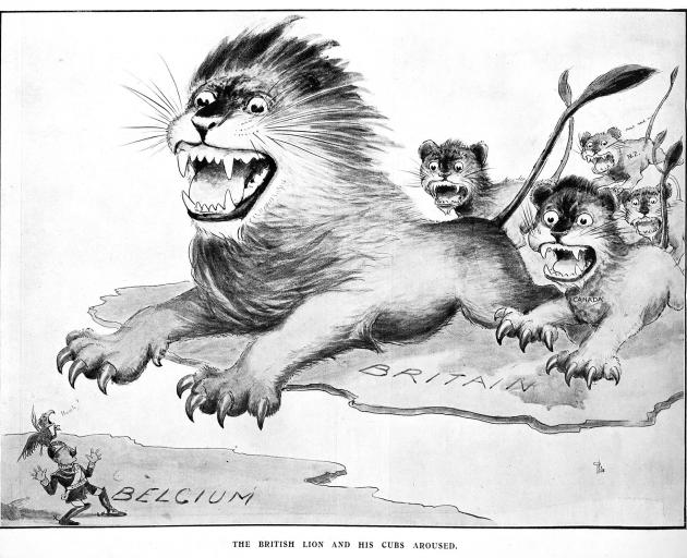This cartoon, The British Lion and his cubs aroused, appeared in the Auckland Weekly News, August...