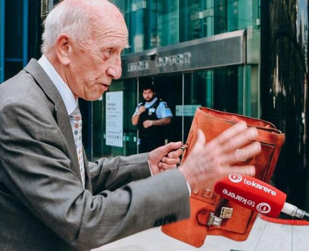 Sir Bob Jones outside of court. Photo: RNZ