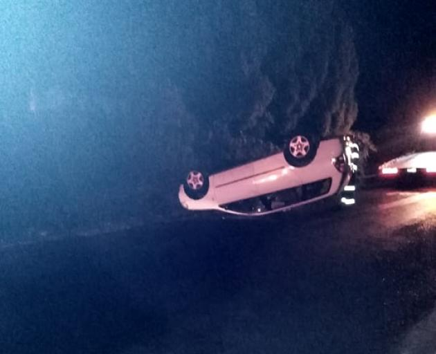 A car rolled in Morton St last night. Photo: Supplied