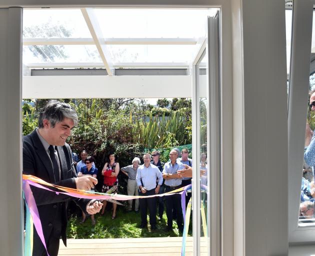 Dunedin Mayor Aaron Hawkins officially opens Dunedin's first Climate Safe House, in Waitati...