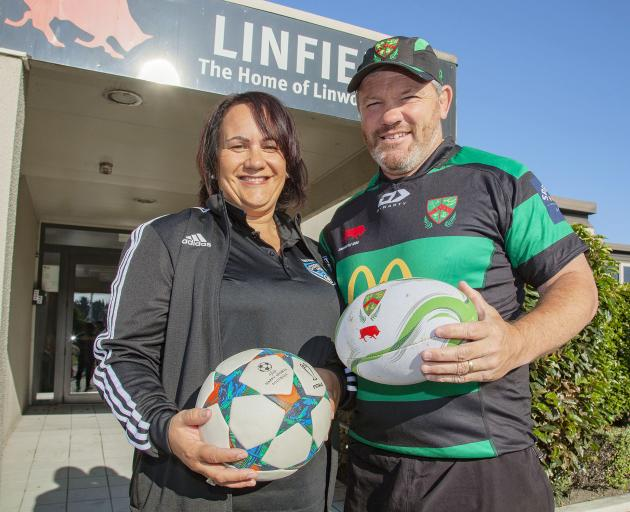 Coastal Spirit administration manager Rowena Scherrer and Linwood rugby manager Aaron Flynn....