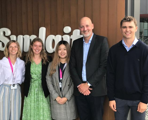 Synlait chief executive officer Leon Clement (second from right) with Future Leaders Programme 2020 intake associates Issy Davies, Giorgia Miller-Thevenard, Claire Ye and Lachie Davidson. Photo: Supplied