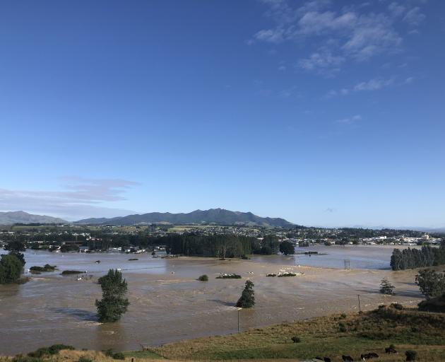 The view of flooding in Gore from east of the town. Photo: Allied Press
