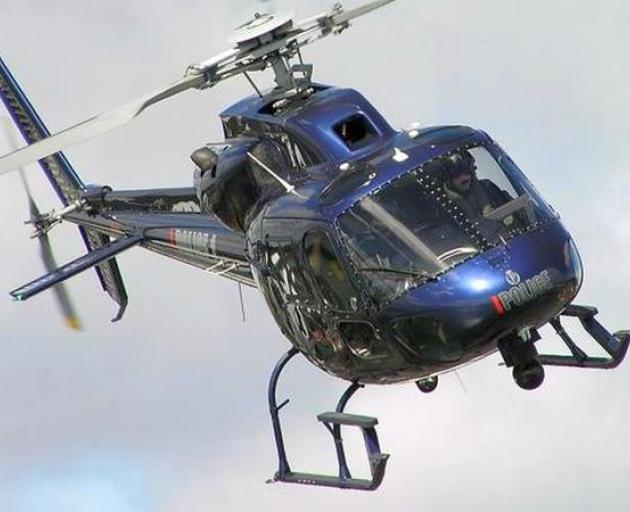 A laser was pointed at the police eagle helicopter in Christchurch. Photo: Supplied: NZ Police