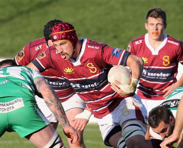 Southland lock Mike McKee bursts away with the ball during his side's Mitre 10 Cup game at Rugby...