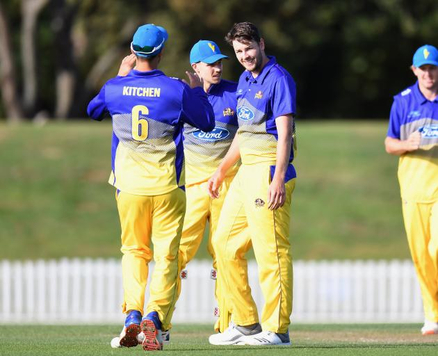Otago captain Jacob Duffy picked up 3-41 to stop Canterbury in their tracks. Photo: Getty Images
