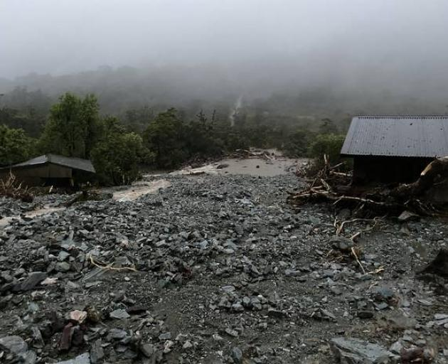 Howden Hut after a landslide plowed through part of it on the Routeburn Track. Photo: Grace Houpapa