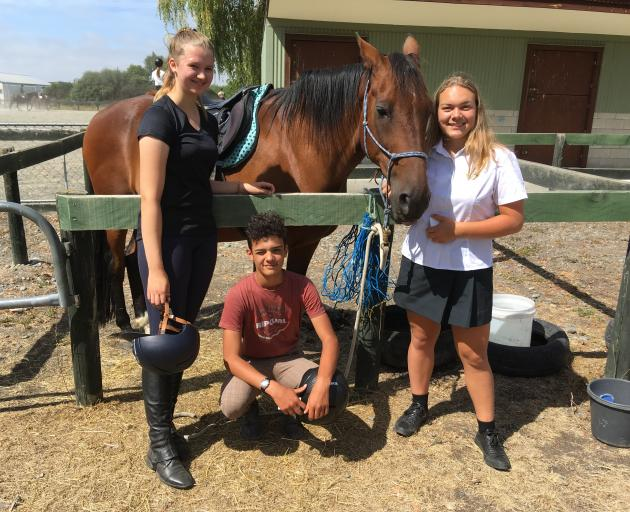 International students Hanna Vowmers, left, aged 17, Ismael Markria, 15, and Alina Prein, 16, are enjoying their time at Rangiora High School. Photo: David Hill