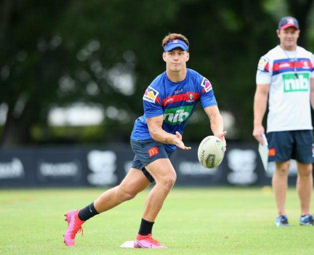 Kalyn Ponga passes at training for the Newcastle Knights. Photo: Getty Images