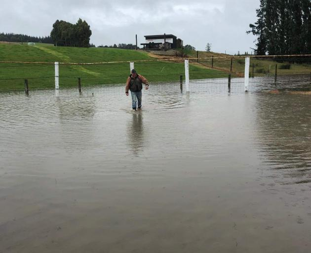 Mataura Rodeo Club member Anthony Perkins wades through the water on the Mataura rodeo grounds. PHOTO: SUPPLIED