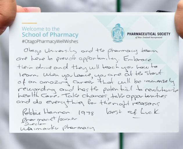 One of the messages sent by Otago pharmacy graduates. PHOTO: PETER MCINTOSH