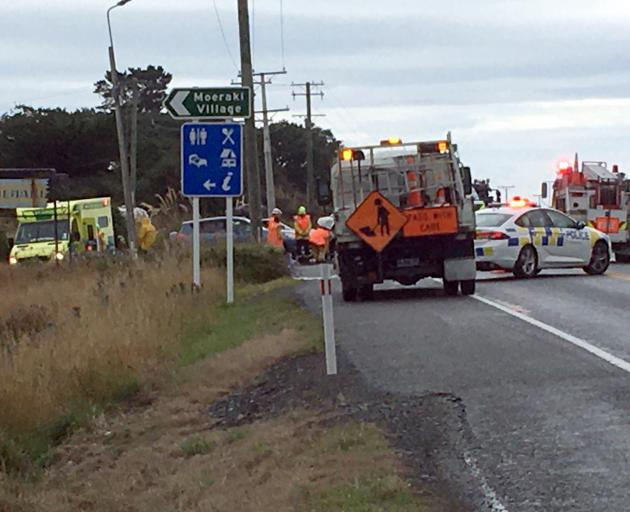 Emergency services at the scene of the crash near Moeraki. Photo: Daniel Birchfield