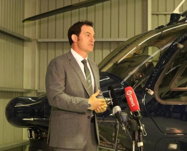Police Minister Stuart Nash at the announcement on Monday. Photo: RNZ/Katie Todd