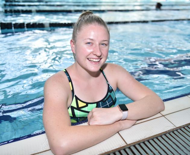 Sara Gane at Moana Pool yesterday afternoon. Photo: Gregor Richardson