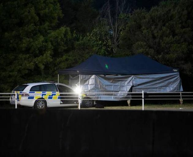The scene of the shooting incident under police guard on Friday morning. Photo: NZ Herald