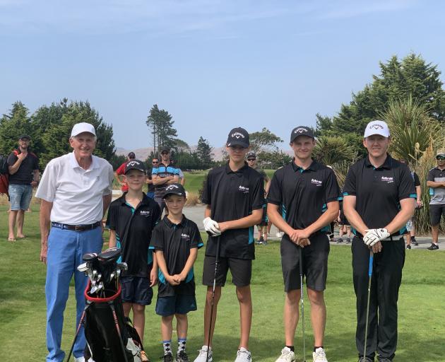 Sir Bob Charles with North-East Hub members Oscar van Onselen, Baxter van Onselen, Toby van...
