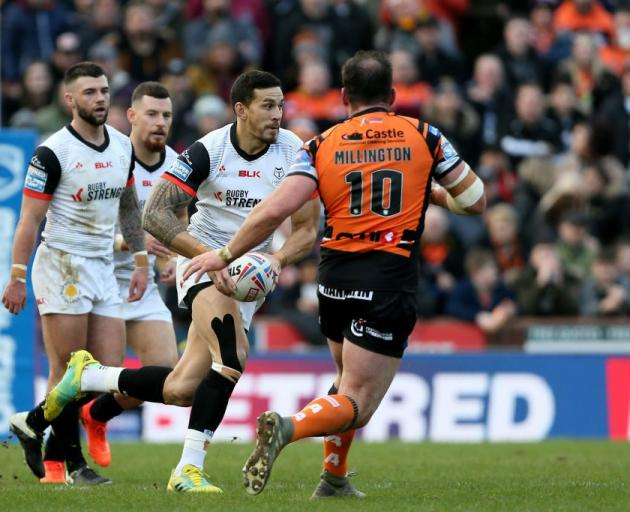 Sonny Bill Williams runs the ball in his first appearance for the Toronto Wolfpack. Photo: Getty...