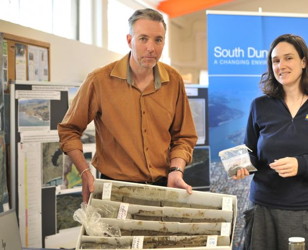 Informing the public of the geology of South Dunedin yesterday are Dunedin City Council communications and engagement adviser Ian Telfer and Otago Regional Council natural hazards analyst Sharon Hornblow. Photo: Christine O'Connor