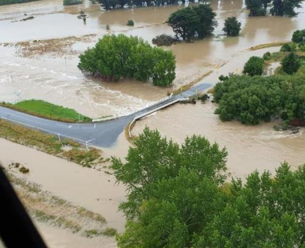 Flooding around Gore. Photo: Supplied/High Country Helicopter
