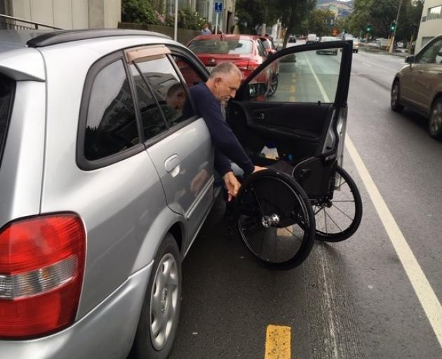 The placement of some mobility parks in Dunedin's one-way system, such as this one outside...