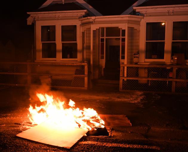 Cardboard burns in Dundas St last week. PHOTO: STEPHEN JAQUIERY