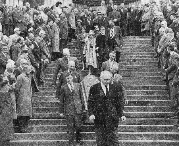 The funeral of James Ward at St Joseph's Cathedral in Dunedin on February 8, 1962. His wife, Helen Ward, is pictured walking arm in arm with her son, Maurice Ward. PHOTO: STAFF PHOTOGRAPHER