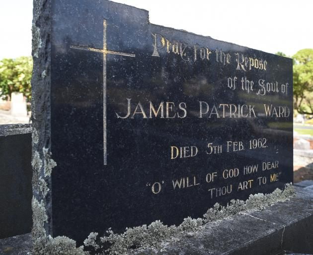 James Ward's grave in the Anderson's Bay Cemetery. Photo: Gerard O'Brien