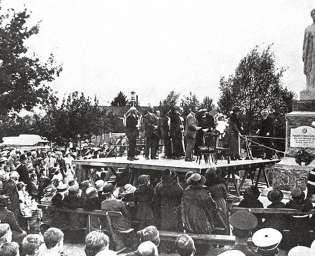 Waimate locals gather in 1923 at the unveiling of a statue commemorating Palmerston-born, Dunedin...