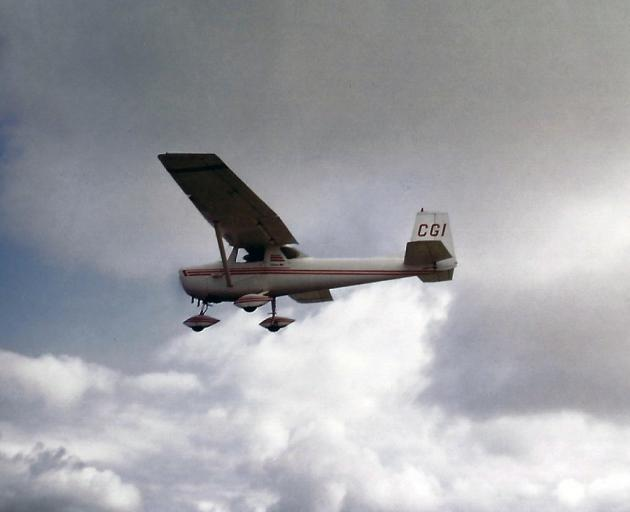 The Cessna 150 ZK-CGI, piloted by new owner Steven Elliott, in flight in 1985. PHOTOS: SUPPLIED