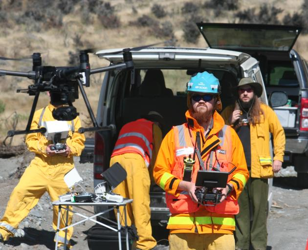 Drones monitor the spread of a gorse fire during a combined study on the behaviour of wildfires...
