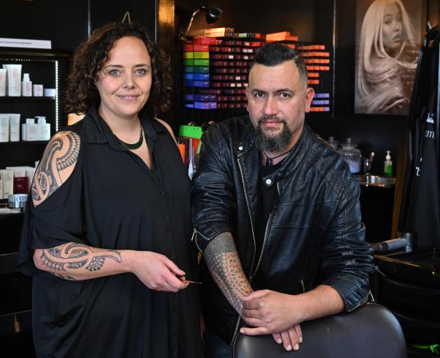 Making the difficult decision to close their salon for the next two weeks are Aurum Hairstylists and Barbers co-owners Ria and Sonna Reihana, of Dunedin. Photo: Linda Robertson