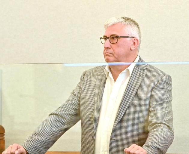 Disgraced financial adviser Barry Kloogh appears in the Dunedin District Court yesterday. Photo:...