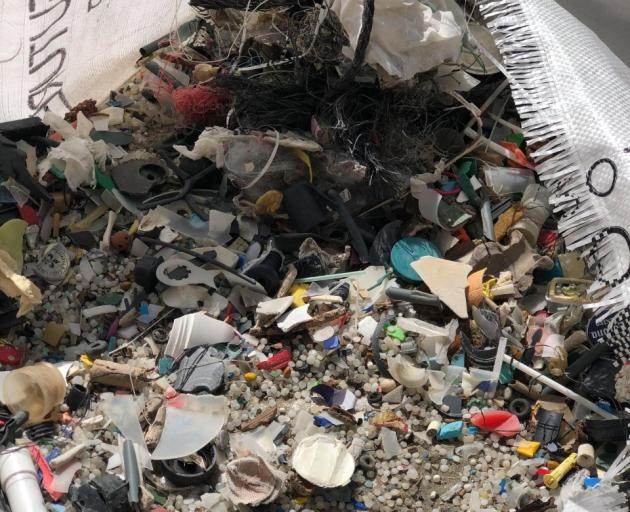 Some of the rubbish collected at Sumner beach. Photo: Our Seas Our Future