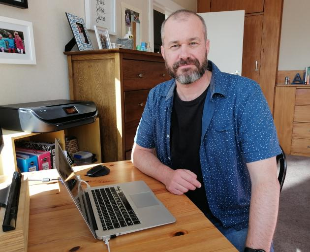 Bison Group Ltd co-founder and chief executive Greg Fahey working from home. PHOTO: SUPPLIED