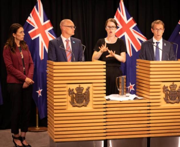 PM Jacinda Ardern joined by Health Minister David Clark and Director-General of Health Dr Ashley...