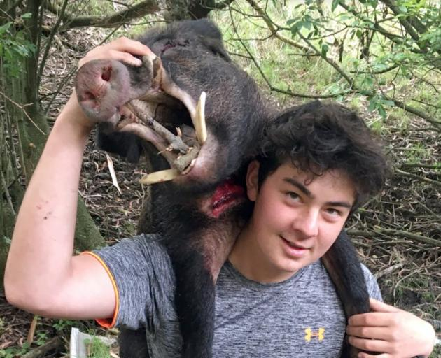 John McGlashan College pupil Caleb Le Cong carries a boar out of the bush during the college's...