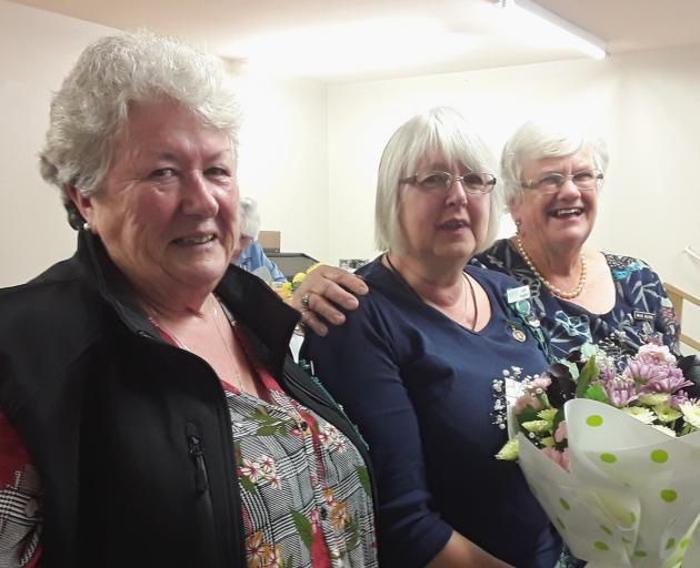 National Executive Committee member Kathryn Hopkinson, of North Canterbury WI, recipient Jude Vaughan and Mid Canterbury Federation of WI president Mavis Wilkins. Photo: Supplied