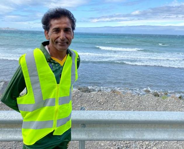 Kasrat Rai on his peace walk from Wellington to Christchurch. Photo: Qaiser Rashid / Supplied