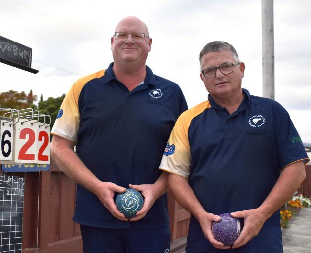 Men's champion of champion pairs winners Steve Wilson (left) and Steve Fleming, of Forbury Park,...