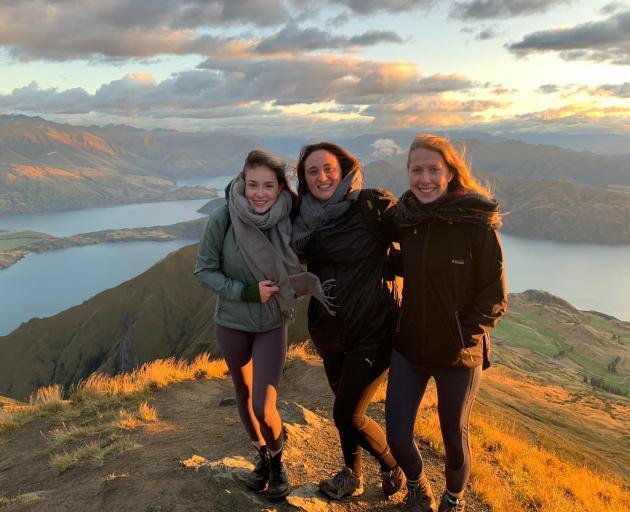 Emma Forster (18), Nele Heins (19) and Sarah Fischer (18) are German au pairs in Dunedin waiting...