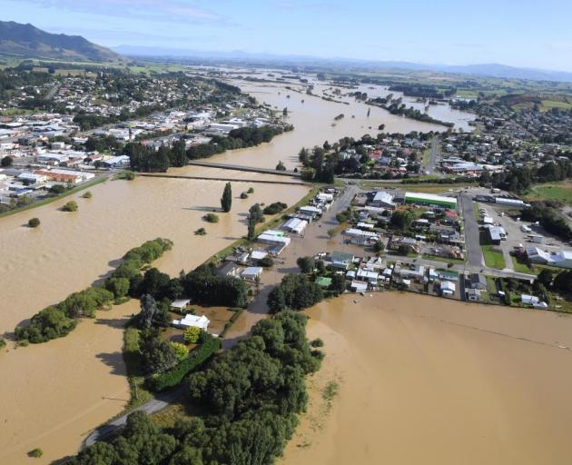 An aerial view of the flooded Mataura River and Gore last week. Photo: Stephen Jaquiery