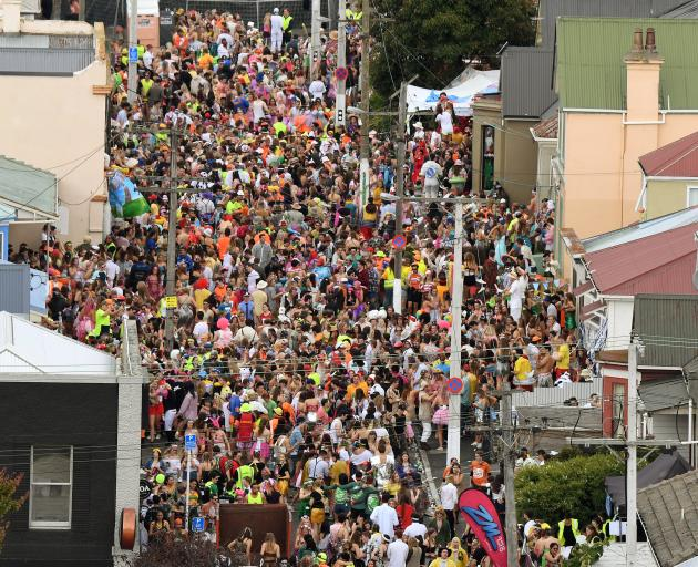 The Hyde St party in full flight. Photo: Stephen Jaquiery
