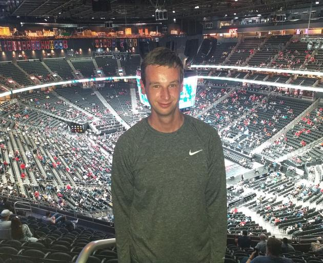 Otago Daily Times sports reporter Jeff Cheshire at the PAC-12 Basketball Tournament in the T...