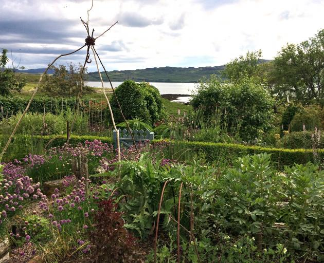 Lucy's vegetable garden in the foreground with views across to Ulva.