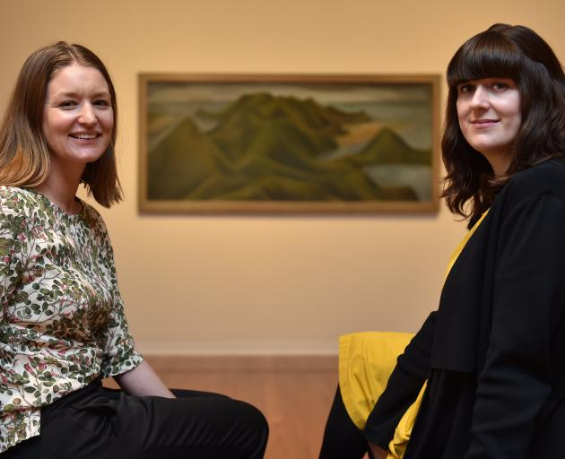 Dunedin Public Art Gallery curators Lucy Hammond (left) and Laura Gutsell enjoy the Colin McCahon exhibition at the gallery. Photo: Gregor Richardson