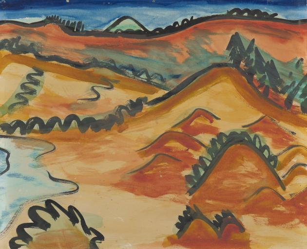 Colin McCahon's From the north end of Tomahawk Beach 1935. Photos: Hocken Collections Uare Taoka O Hakena, University of Otago