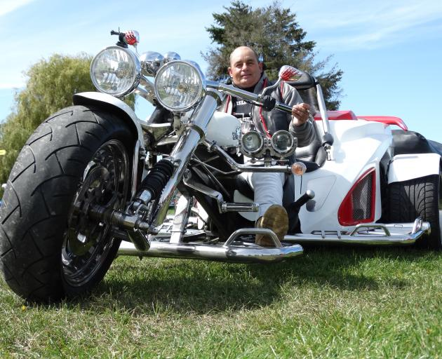 Eddie Pentland, of Christchurch, on his 2014 Boom trike, at the March Hare Motorcycle Rally at...