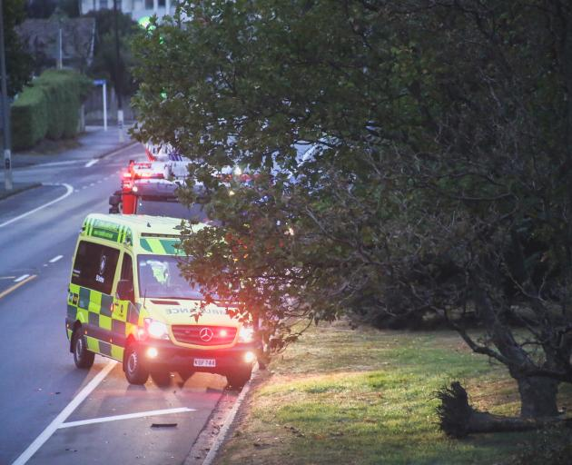 An ambulance at the scene. Photo: Rebecca Ryan